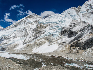 Himalaya mountain views on route to Everest Base Camp
