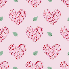 Seamless pattern with petal in heart shape on white background,design for fabric,textile,print or wrapping paper