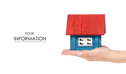 Wooden house small color in hand pattern on white background isolation