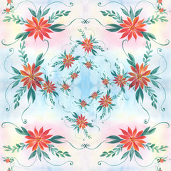 Flowers on the background of watercolors - a decorative composition. Use printed materials, signs, items, websites, maps, posters, postcards, packaging. Seamless background.