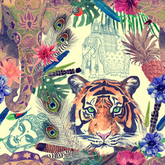 Seamless watercolor pattern with tiger head, elephant.