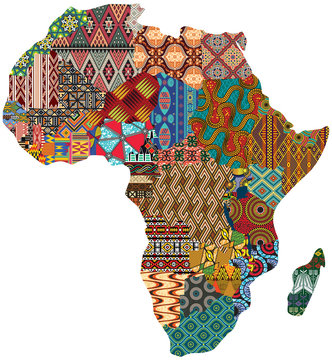 Abstract Africa patchwork traditional fabric pattern vector map