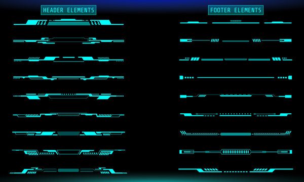 HUD Futuristic Header And Footer Elements Set For UI Inforgraphic Vector. Green Abstract Future Cyber Hologram Bar Shape Illustration.