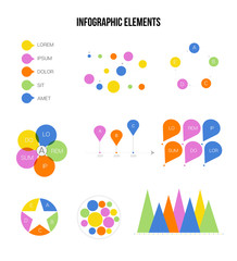 Infographic Elements Vector Set Modern Business Process Presentation. Pie Chart, Circular Bar, Linear Diargam Targeting, Development Report. Chart Graphic Business Statistics Cool Infographic Template