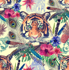 Seamless watercolor patten with tiger heads, leaves, flower, feathers.