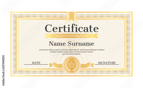Certificate Template Editable Name Surname Date Stock Image And