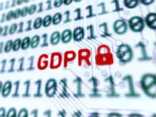 Personal data protection GDPR - red message on screen 3d rendered with depth of field