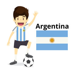Argentina national team cartoon,football World,country flags. 2018 soccer world,isolated on white background. vector illustration