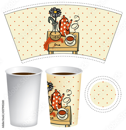 Vector Paper Cup Template For Hot Drink Disposable Tea Or Coffee With Funny