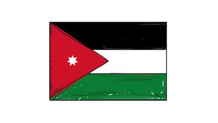 Cartoon, vector hand drawing of Jordan flag illustration