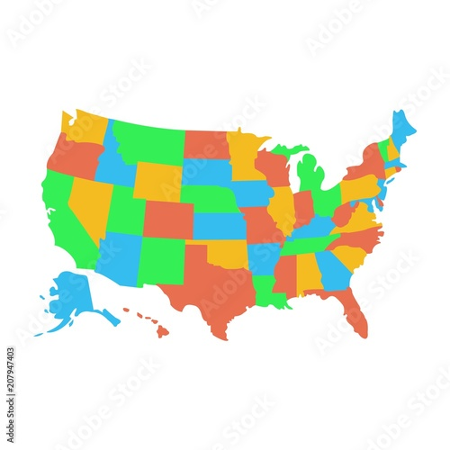 State map of US America. Vector Simple Black Maps. Eps 08 ...