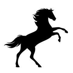 rearing up horse side view silhouette - black vector mustang design