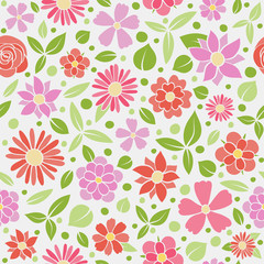 Texture with hand drawn flowers. Mother's Day, Woman's Day and Valentine's Day. Vector.