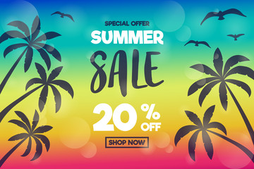 Summer Sale - banner with tropical palms. Vector.