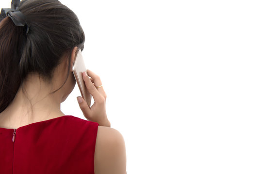 Portrait of asian business woman use cellphone on white background, rear view and closeup portrait. Female holding smartphone back view, Free from copy space.