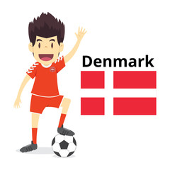 Denmark nation team cartoon,football World,country flags. 2018 soccer world,isolated on white background. vector illustration