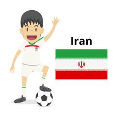 Iran nation team cartoon,football World,country flags. 2018 soccer world,isolated on white background. vector illustration