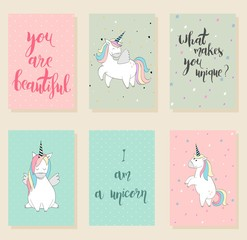 Collection of cute artistic cards for kids. Magic cute unicorn in vector.