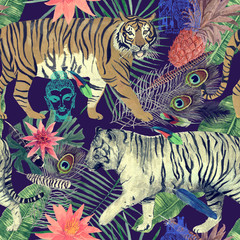 Seamless watercolor pattern with tigers, leaves, feathers,.