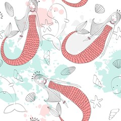Vector seamless pattern with a mermaid and a dolphin