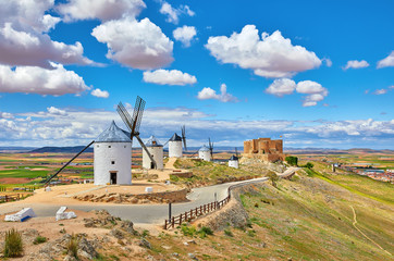 Wind mills and old castle in Consuegra, Toledo, Castilla La