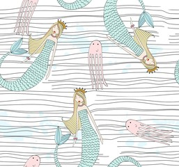 Vector seamless pattern with a mermaid and an octopus