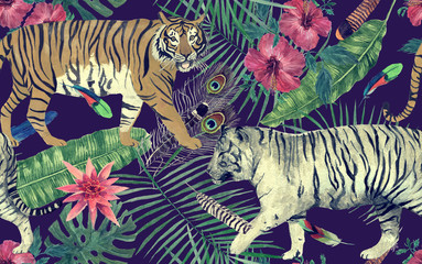 Seamless watercolor pattern with tigers, leaves, flowers.