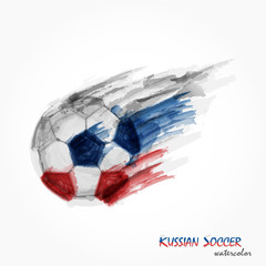 Realistic watercolor painting of powerful Russian football or soccer shot . Artistic and sport concept . Vector for international world championship tournament 2018 . Flat design