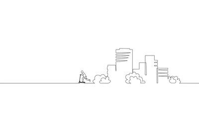Single continuous one line art city building riding scooter. Architecture construction house urban apartment cityscape concept design sketch outline drawing vector illustration