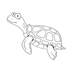 Hand drawn turtle on white background. Vector illustration.