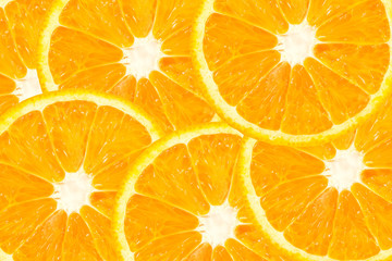 top view of orange slice fruit on color background .