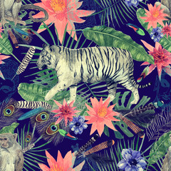Seamless watercolor pattern with tigers, monkeys, leaves, flowers.