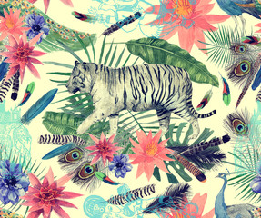 Seamless watercolor pattern with tigers, peacocks, leaves, flowers.