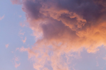 close up of dramatic and colorful cloudy sunset sky