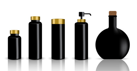 Mock up Realistic Black and Gold Cosmetic Bottles And Dropper Set Background Illustration