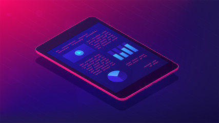 Isometric tablet with analysis infographic app on the screen. Appliacantion with charts and graphics analitycs data on the tablets screen. Fiancial app concept in violet. Vector ultraviolet background