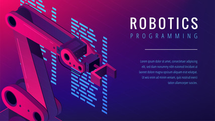 Isometric automated robot arm as robotics programming study concept. Robots console commands programming, software code language in vibrant gradient violet color. Vector 3d isometric landing page.
