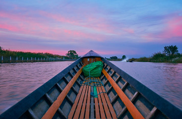 The sunset trip on Inle Lake, Myanmar