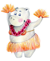 Hawaii dance hippo, watercolor illustration isolated on white background.