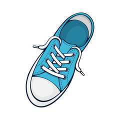 One blue textile sneaker with rubber toe and loose lacing