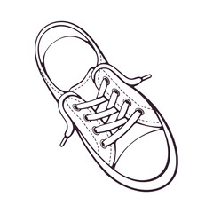 Doodle of one textile sneaker with rubber toe and loose lacing