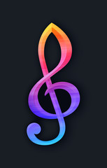Treble clef with gradient in flat style on black background
