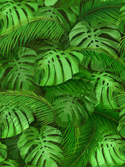 Seamless pattern of tropical leaves. Palm and monstera foliage for invitation card, wallpapers or textile design