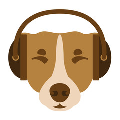 dog face  in headphones vector illustration flat style
