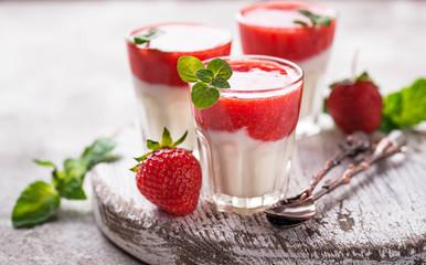 Delicious dessert panna cotta with strawberry