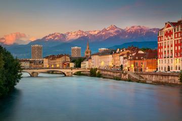 Fototapeta Grenoble. Cityscape image of Grenoble, France during sunset. obraz