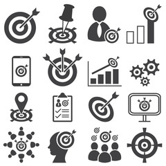 Success target business mission icons set, Vector illustration EPS10