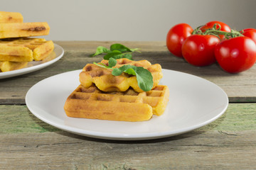 waffles with vegetables for breakfast