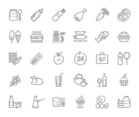 Food, contour icons, vector. Food and drinks, production and sale. Gray line drawings on a white field. Vector clip art.