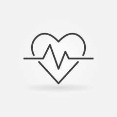 Heartbeat vector icon. Heart rate concept outline symbol